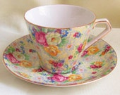Vintage Chintz Lord Nelson Ware Teacup Saucer Rose Time 1950s