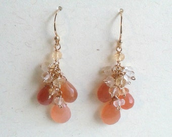 Shimmering Peach Moonstone Gemstone Bouquet with Shaded Citrine Earrings - Gold Filled - Cluster Earrings - Bridal Party Jewelry Jewellery