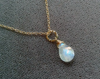 """Petite Minimalist Faceted Rainbow Moonstone Drop Necklace with hammered gold link - Gold Filled - 17"""" - Bridal Jewelry - Bridesmaid Necklace"""