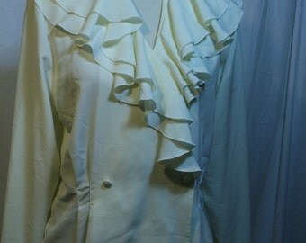 Vintage clothing 1980s Susan Hutton Blouse Sz 10 Ruffled front ivory 80s Career Wear