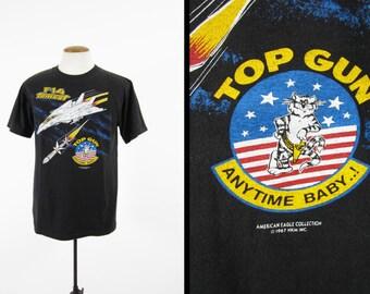 Vintage 80s Top Gun F-14 Tomcat T-shirt Fighter Jet Anytime Baby! - Men's Medium
