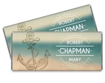 Set of 12 - Nautical Wedding Candy Bar Wrappers - Nautical Sunset Beach Wedding Favors