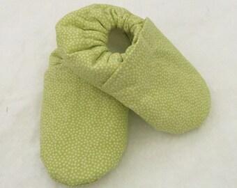 Lime Green Polka Dot Baby Shoes