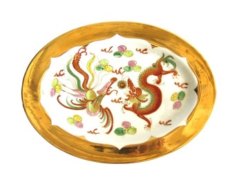 Vintage Asian Phoenix and Dragon Large Oval Platter Platter Heavy Gold Gilding