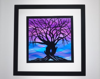 Silhouette Paper Cut Trees Of Life CUSTOM ORDER, ORIGINAL Design in Shades of Blues & Purples Handmade Wall Art Framed Signed One of a Kind
