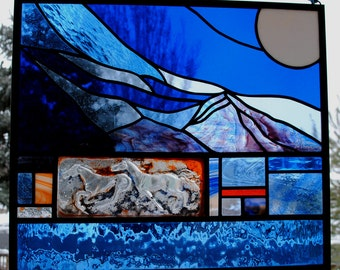 Stained Glass Window Panel  Running horses rocky mountain moon orange blue