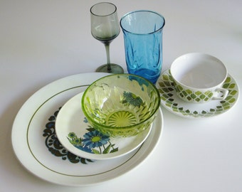 Vintage Place Setting, Mismatched Dishes, Mix and Match, Turquoise and Green, Anchor Hocking, Spanish Crown, Snowhite, Ridgway Martinique