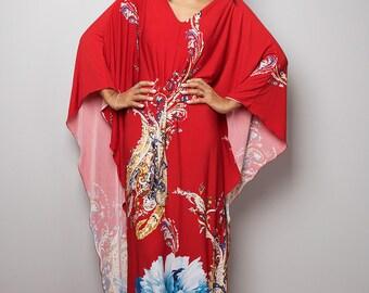 Boho Dress - Red Maxi Dress with Boho Print - Kimono Dress : Funky Elegant Collection No.20