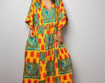 Maxi Dress / Kaftan Summer Dress / Boho African Print Maxi Dress : Bohemian Kaftan Collection No.1