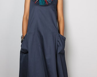 Navy Blue Dress - Dark Blue Halter Dress : Let's Party Collection 2015