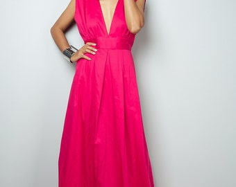 Hot Pink Maxi Dress - Long Formal Pink dress    : Oriental Secrets Collection II