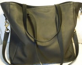 "Leather Huge  black diaper bag beautiful hand made carry all tote cross body bag lined ""Baby Poppins"""