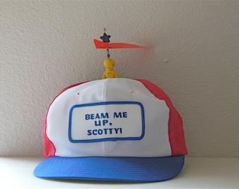 Propeller Hat Snap back Cap Hat Baseball hat 1980's Beam Me up Scotty Brak Space Raiders Rare Alien Robot Diener Eraser Sci Fi Collectible