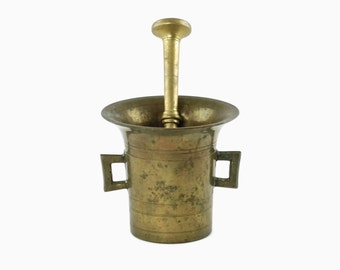 Antique Solid Brass Apothecary Mortar and Pestle