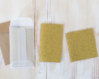 Gold Glitter Mini Folded Note Cards - 10 pc