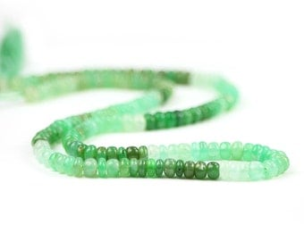 Chrysoprase Smooth Rondelles 12 Shaded Mint Green Lime Green Semi Precious Gemstones