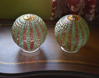 Pendant Light or Flush Mount Globe Pair, Striped Pressed Glass