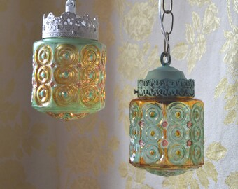 Pendant Light or Flush Mount Pressed Glass Shade Pair, Gypsy colors