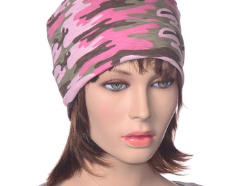 Ladies Pink Camo Round Nightcap Workout Yoga Hat Lightweight Womans Sleep Hat Hospital Scrub Hat  Chemo Cap Poor Poet Hat