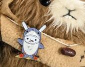 Enamel pin kawaii Bunny Shark cute rabbit pin shark lapel pin, Ocean animal birthday gift teen, hat jacket backpack pin, metal badge sale