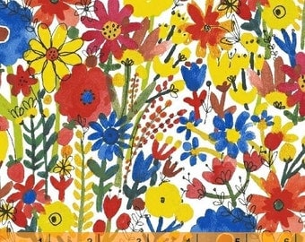 Flower Pedals - Multi Floral White Organic Cotton by Carolyn Gavin of Ecojot from Windham Fabrics