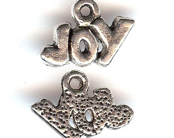 JOY Word Charm. Silver Plated Zinc Alloy. Small One Sided.
