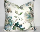 NEW P. Kaufmann Brissac Floral Print Linen Pillow Cover Sapphire Blue Decorative Flower Pillow Covers