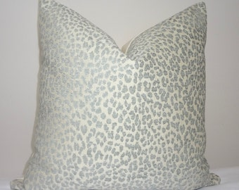 Decorative Animal Print Pillow Cover Leopard Grey Blue Ivory Pillow Cover Leopard Print Throw Pillow Cover 18x18