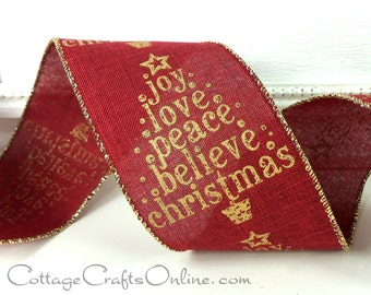 """Christmas Wired Ribbon, 2 1/2"""" Joy Love Christmas Tree, Red Linen Style - SIX & 2/3 YARDS - d stevens #70210 Gold Glitter, Wire Edged Ribbon"""