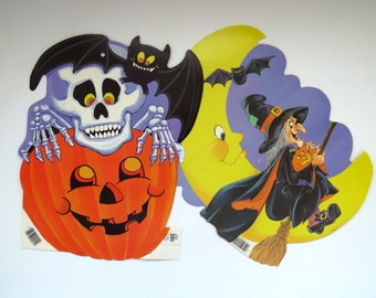 Vintage Halloween Eureka Die Cut Decorations - Set of 2 - Skeleton on Pumpkin - Witch on Broomstick - Window Decorations Classroom Party