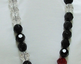 Clear Red and Black Colorblock Statement Necklace