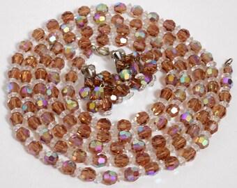 Laguna Crystal Long Necklace with Dangle Earrings, Vintage Laguna, Vintage Crystal Costume Jewelry, Crystal Dangle Clip Earrings, Christmas