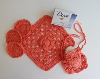 Crochet Drawstring Soap Saver, Face Pads & Washcloth - Cantaloupe Melon- Cotton Spa Bath Gift Set