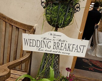 Personalised Hanging Vintage Wedding Sign Large Wooden