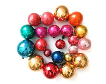 Set of 22 Vintage Colorful Christmas Ornaments, Hand Blown Mercury Glass Ball Decorations