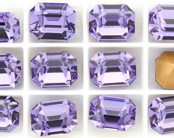 6 TANZANITE Vintage Crystal Swarovski 4600 10x8mm F