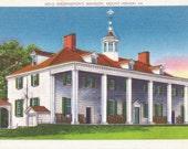 Mount Vernon, Virginia, Washington's Mansion - Linen Postcard - Unused (L)