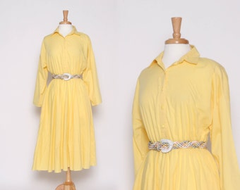 Vintage 80s Yellow Long Sleeve Knee Length Dress / M L
