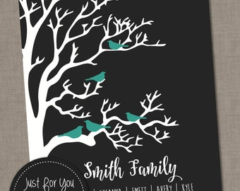 Family Christmas Gift - Family Tree with Birds - Mother's Day, Anniversary, Christmas, Baby Gift, Housewarming - Custom Printable -YOU PRINT