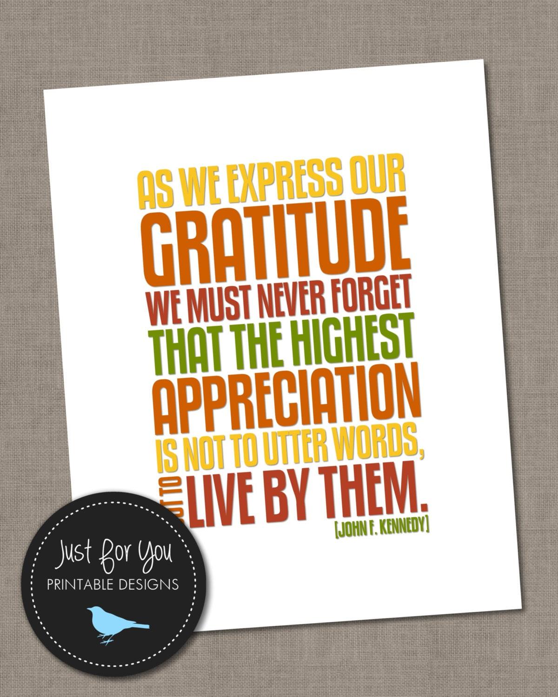 Printable Thanksgiving Decor John F Kennedy JFK Quote On