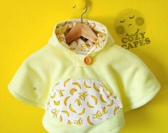 Mini Fleece Cape Poncho (Yellow Bananas) || 0-18mo. Baby Toddler || Car Seat Coat