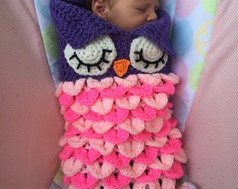 Sweet Baby Owl Snuggle Cocoon Crochet Knit Newborn Baby Girl Shower Gift Pink Purple