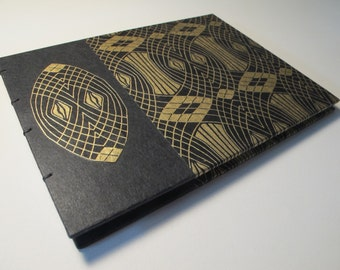 Large Art Deco Black and Metallic Gold Gatsby Wedding Guest Book Instax Polaroid Photo Album