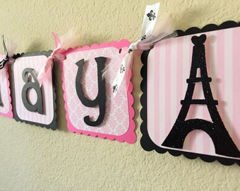Paris Birthday Party Banner in Pink and Black