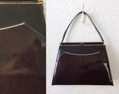 60's Brown Patent Leather Handbag, Gold Piping and Hardware, Large Shoulder Hinge-top Purse, Single Strap Kelly Bag, by Naturalizer, Vintage
