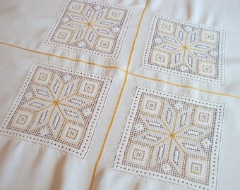 """White Linen Tablecloth Gold Embroidery and Crochet Details Vintage Table Linens 58"""" x 62"""""""