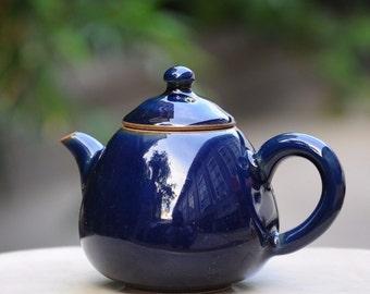 Deep Blue Handmade Jingdezhen China Porcelain Gong fu teapot