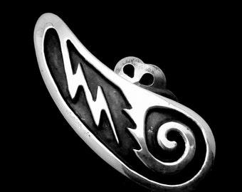 Vintage Southwestern Tribal Native Zuni Sterling Silver Large Lightening Earrings 22030