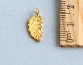 Leaf charm, Gold vermeil leaf charm, Gold vermeil Charm, Leaf Charm Pendant,  Dangles Charm, Gold leaf charm, 18mm ( 1 pcs )