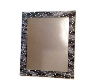 Black and white Mirror, Large decorative Mirror, Shabby Chic Mirror, Hanging Mosaic Mirror Bathroom Mirror, Vanity Mirror, Decorative Mirror